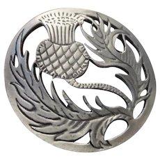 Large Round Scottish Thistle Brooch/Pendant