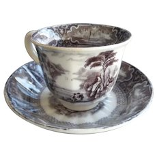 "Early (Asian Mark) English Cup & Saucer - Gray ""SUSA"""