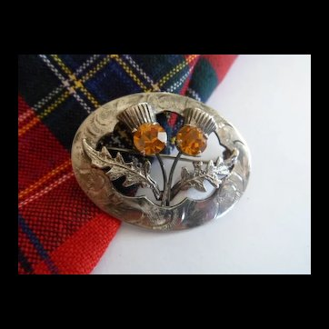 Vintage Scottish Two Thistle Brooch