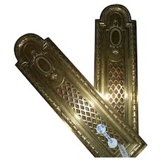 PAIR  French Brass Repousse Finger Plates - late 1800s