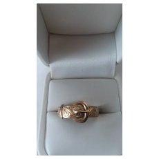 Vintage 9ct Rose Gold Buckle Ring, size 11