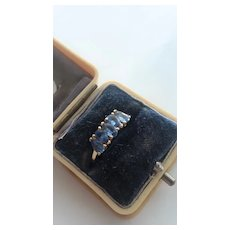 Lovely 5-Sapphire Ring in 9ct Gold, Size 7.5