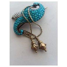 Beautiful Victorian S Gilt Turquoise Pin w/Tassels