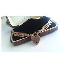 "Vintage English 9ct Rose Gold Gate Bracelet w/Heart 7"""