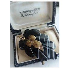 Victorian Banded Black Agate Brooch