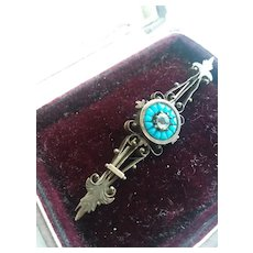 Late 1800s Gold Fill/Turquoise brooch with stone