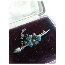 Late 1800s Victorian Silver/Turquoise/Seed Pearl Pin