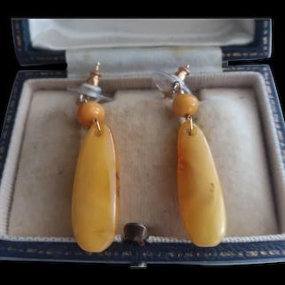 """Vintage """"Egg Yolk"""" Amber Earrings (Pierced/Posts)"""