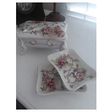 2 Vintage Pin Trays within Footed Box - Vanity Item