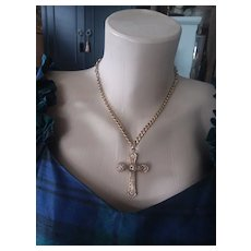 Antique Gold Filled Cross in GF Chain AS IS