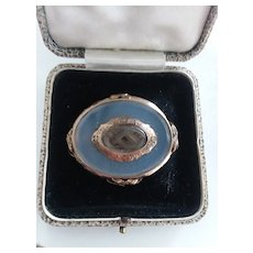 Victorian Gold/Agate Mourning Brooch/Hair