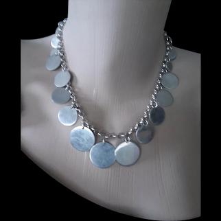 "Modern 925 Silver Multi-disc Necklace 18"""