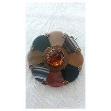 Antique Scottish Agate Brooch 2 Inch wide
