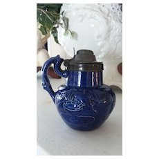 Late 1800s English Pottery Jug w/ Pewter Lid-Cobalt