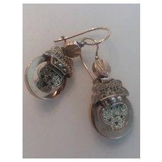 Victorian Rose GF Earrings w/Seed Pearls/ Wires AS IS