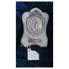 French c1910 Antique Baptismal Silver/Marble AS IS