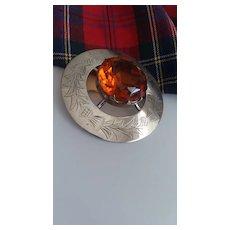 "Vintage Scottish SP Cairngorm Plaidie Brooch 2 1/2"""