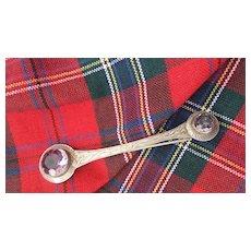 "Early 1800s Scottish Silver/Amethyst Kilt Pin 3 1/4"""