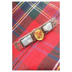 Early Victorian Scottish Agate Silver Brooch 2ins.
