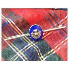 "Fine Scottish Thistle Silver/Enamel Pin/Tie bar 2 1/4"""