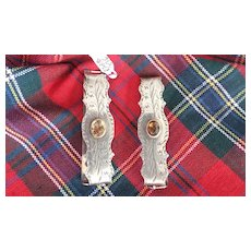 Antique Scottish Hair Barretts/with Citrines (engraved)