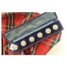 Scottish Silver Buttons in Original Box - Scottish/Cherubs
