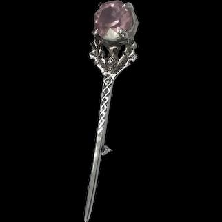 "3"" Scottish Plated Kilt Pin/Glass stone"