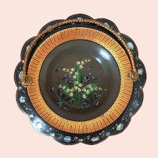 Antique Hand Painted Papier Mache Basket, Inset Abalone