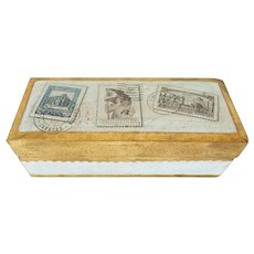Vintage Italian Florentine Gilt Wood Desktop Stamp Box
