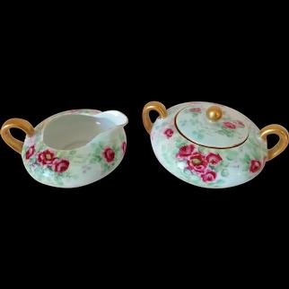 c. 1910 Silesia Hand Painted Porcelain Cream Sugar w/ Roses