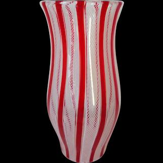 Mid Century Murano Glass Latticino a Canne Tall Hurricane Shade
