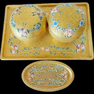 DeVilbiss 22K Gold Wash Vanity Tray, Pin Dish, 2 Covered Jars