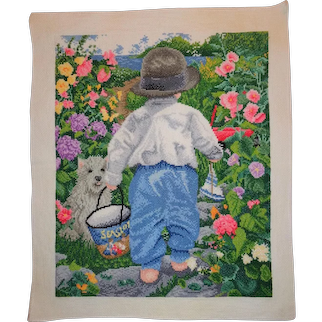 Vintage Counted Cross Stitch, Boy Walking to Beach