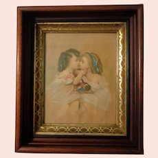 Deep Antique Frame with Lithograph of Two Girls and Doll