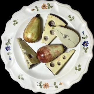 60's Italian Faience Wall Plaque, Dimensional Pears, Cheese