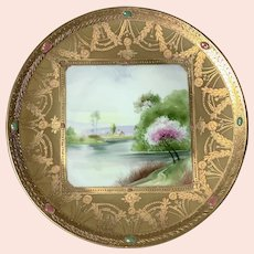 Antique Nippon Hand Painted Gilt Lake Scene Cabinet Plate
