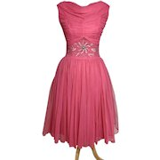 Pink Chiffon 1960s Cocktail Dress – Beading and Sequins