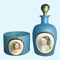 19th C French Blue Opaline Vanity Set w/ Porcelain HP Portraits