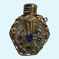 20s Mini Czech Glass Scent Bottle, Gilt Metal Cage