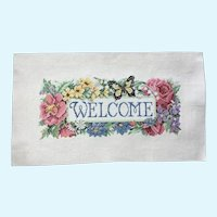 Vintage Counted Cross Stitch, Flower & Butterfly Welcome