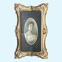 c1901-10 Ormolu Pressed Brass Picture Frame with Cabinet Photo