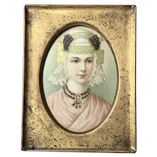 Turn of Century Worn Brass Frame, Hand Gilded Picture of Woman