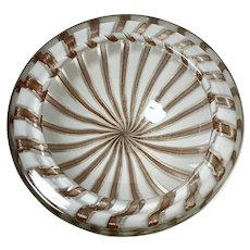 50s Murano Glass Bowl of Alternating Aventurine & Lattimo Canes