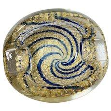MCM Murano Glass Bullicante Bowl, Thick Gold Leaf & Navy Swirls