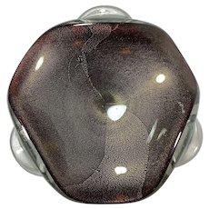 Murano 50s Glass Bowl, Gold Leaf & Sfumato Technique