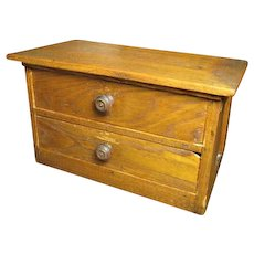 Granny's Old Wooden Small Sized 2 Drawer Dresser Chest - Original Knobs