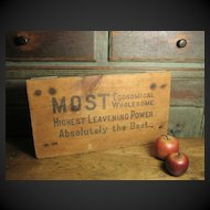 Early Old Wooden Advertising Box End Sign - MOST Leavening Powder