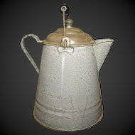 Grandma's Great Old Gray Graniteware Coffee Boiler w. Lid & Bail Handle