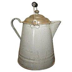 Grandma's Great Old Gray Graniteware Coffee Boiler w. Lid & Bail Handle