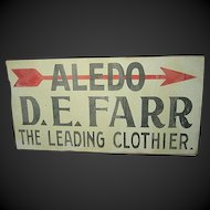 Wonderful Old Advertising Metal Trade Sign - Aledo Clothier - D.E. Farr